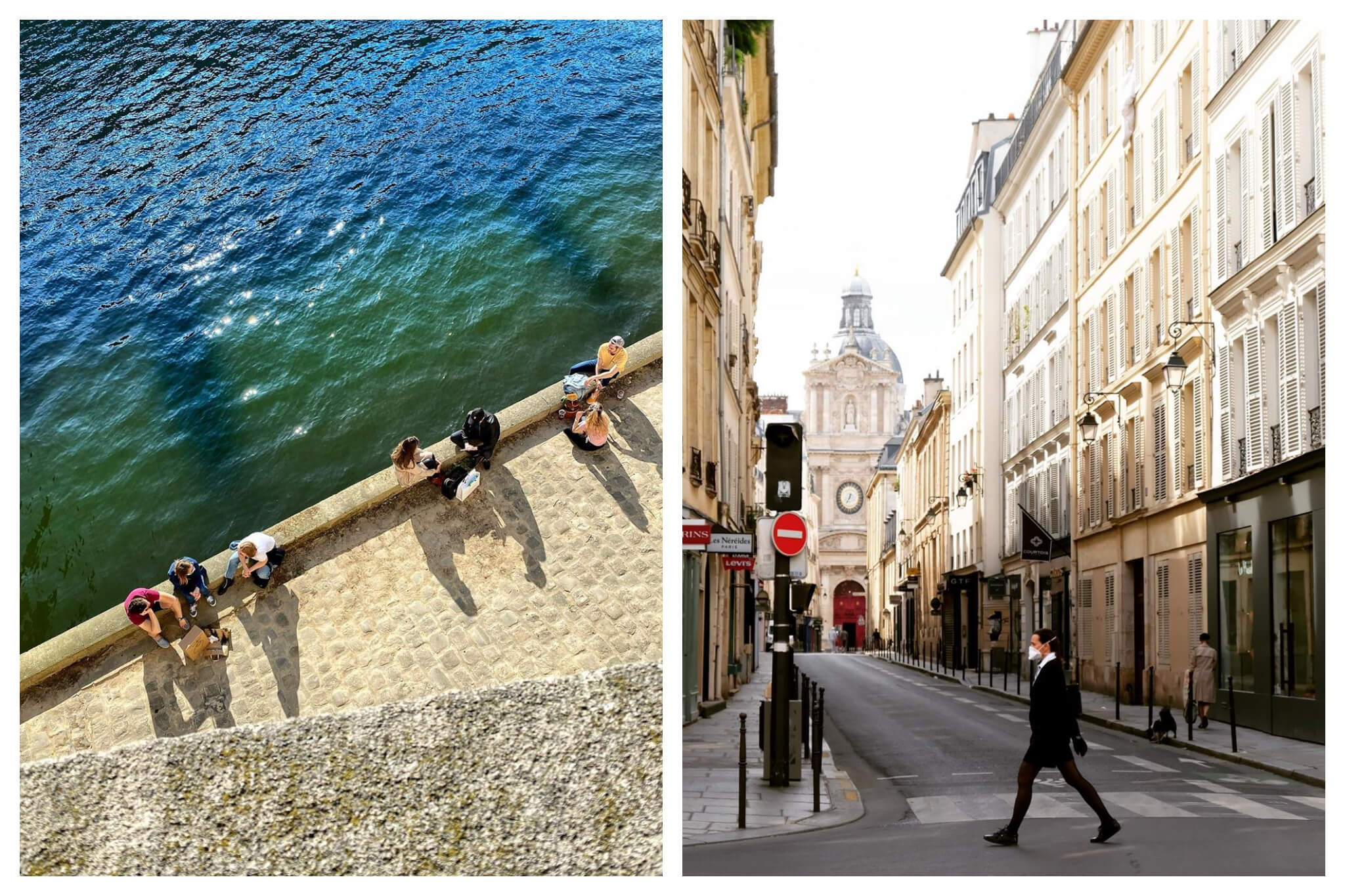 Left: People sit on the banks on the Seine on a sunny day, the water blue and green, Right: A man walks through an empty Marais while wearing a face mask