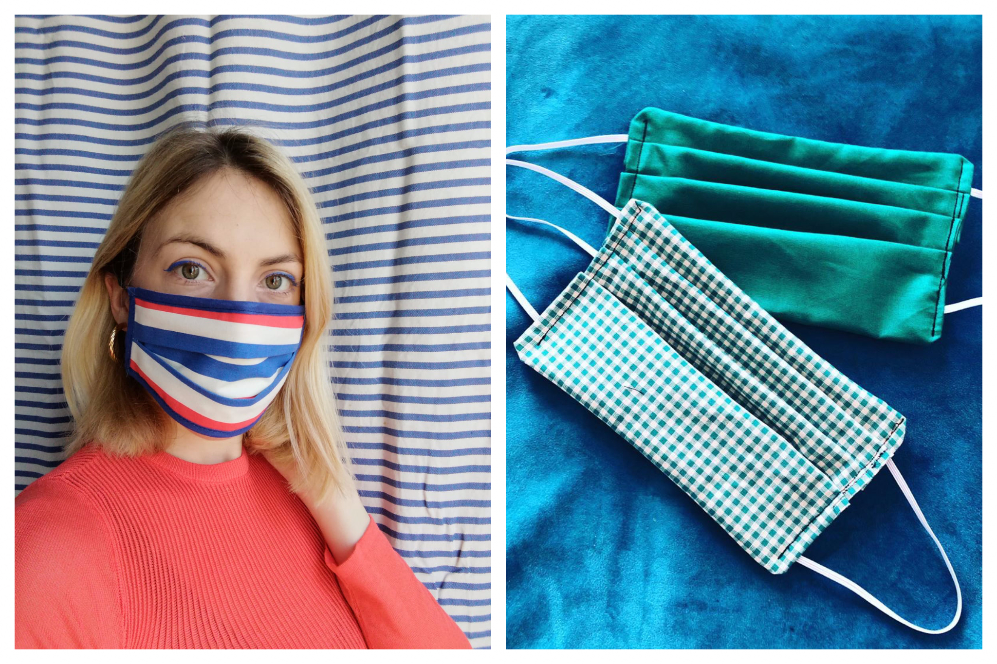 Left: A blonde woman wears a blue white and red face mask. Right: a gingham green and white face mask and a plain emerald green face mask on a blue velvet background.