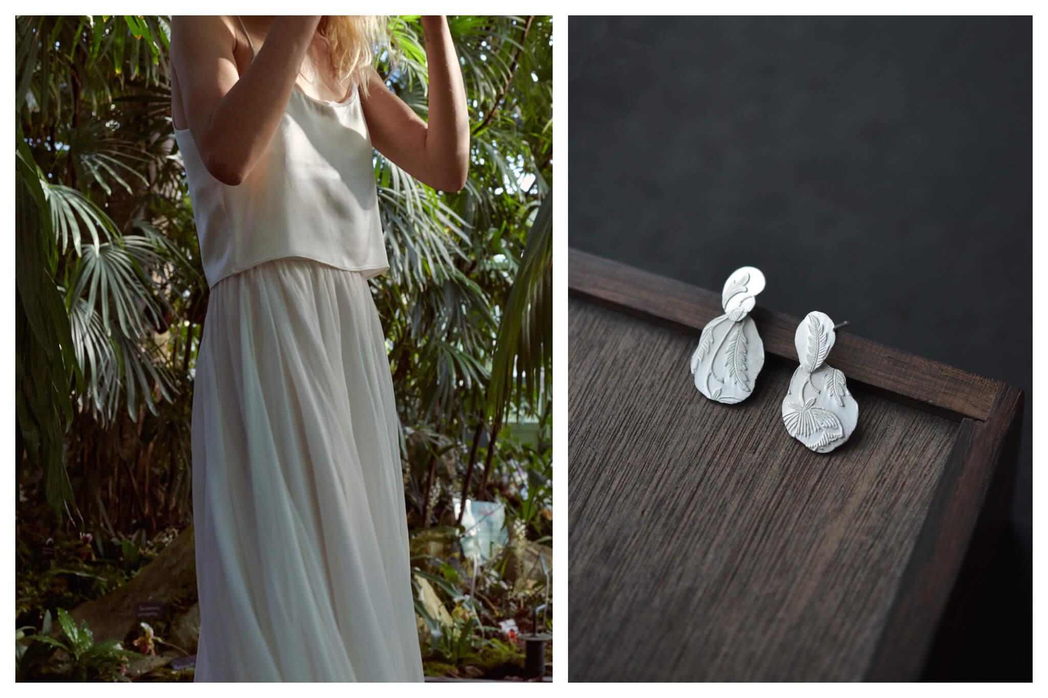 Left: A woman wearing a long white dress stands in front of green plants, Right: A pair of hand-made silver earrings sit on a wood table