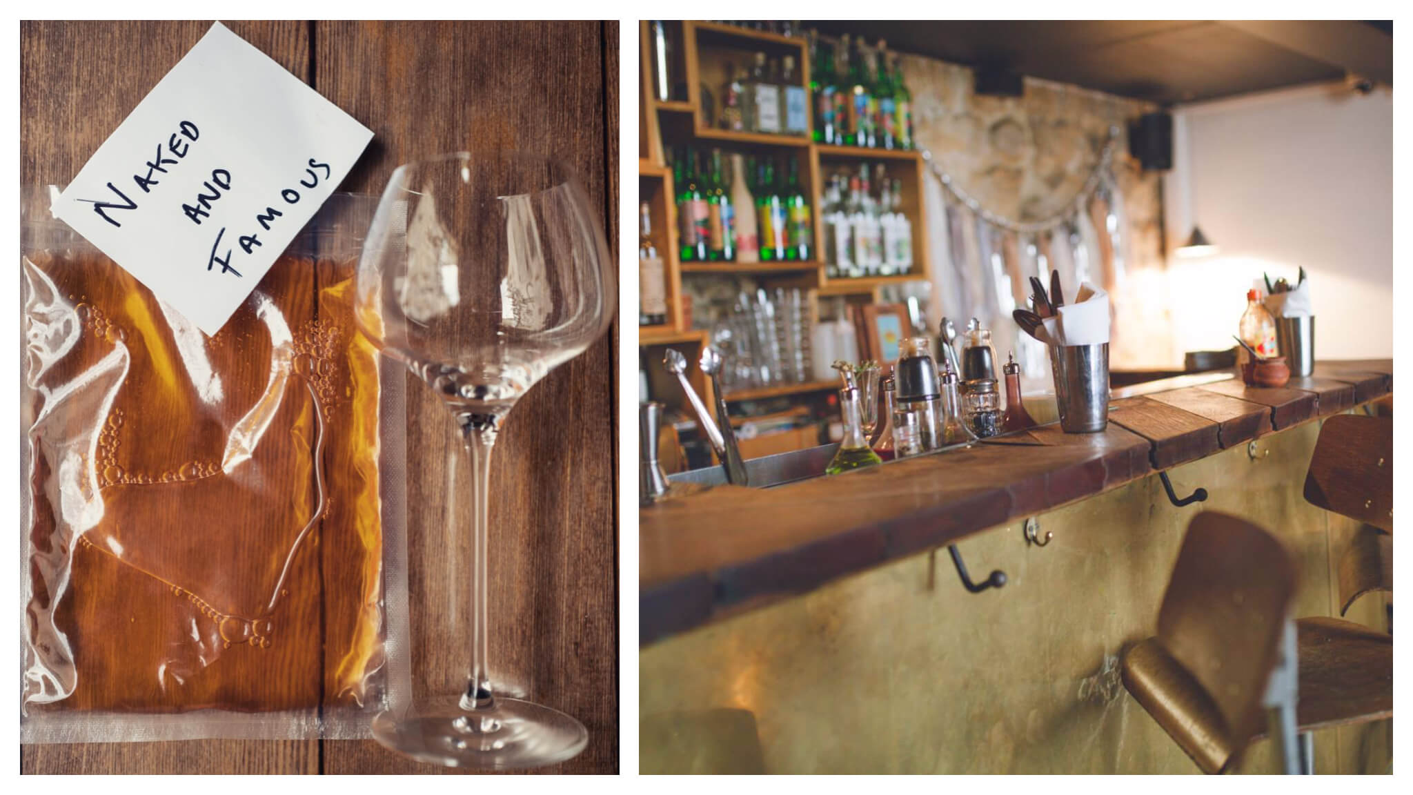 Left: A wine glass on a wooden table next to a pouch of wine. Right: the bar at Candelaria in Paris.