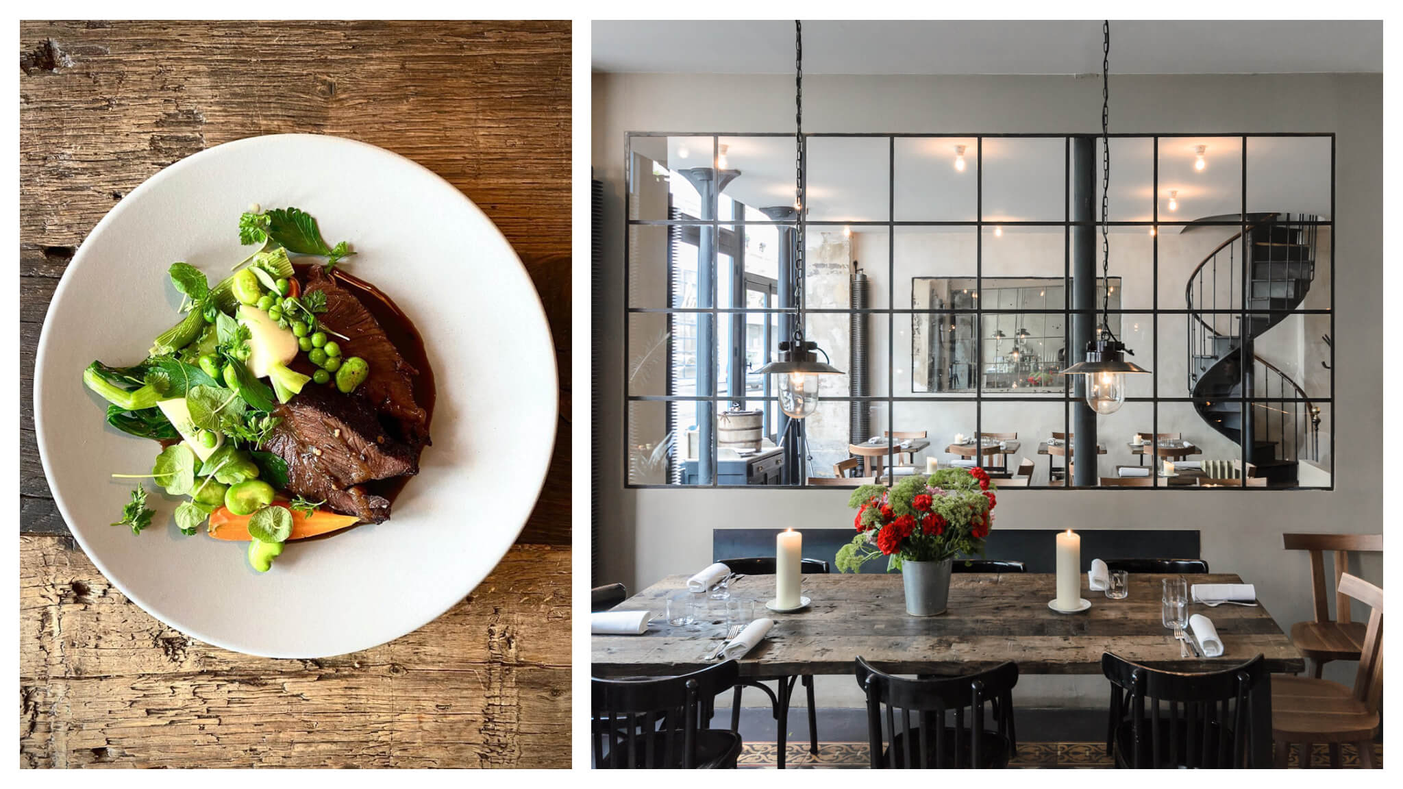 Left: a vegetable and meat dish in a white plate on a timber table. Right: a marble table with a mirror hanging on the back wall at restaurant Septime in Paris.