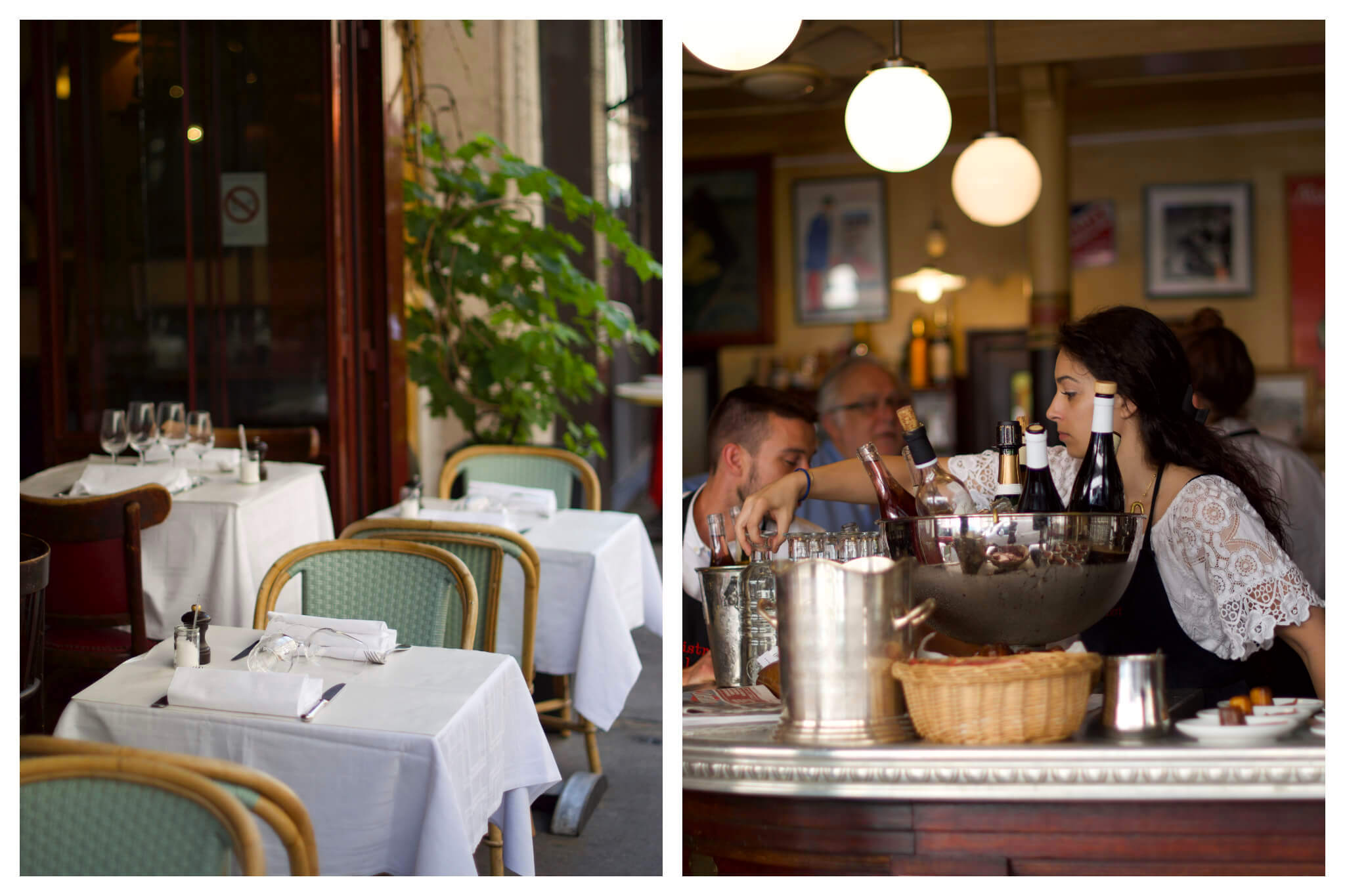 Left: Empty bistro tables and chairs sit on a bistro terrace in Paris, Right: A waitress grabs a carafe d'eau from behind the bar of a restaurant in Paris.
