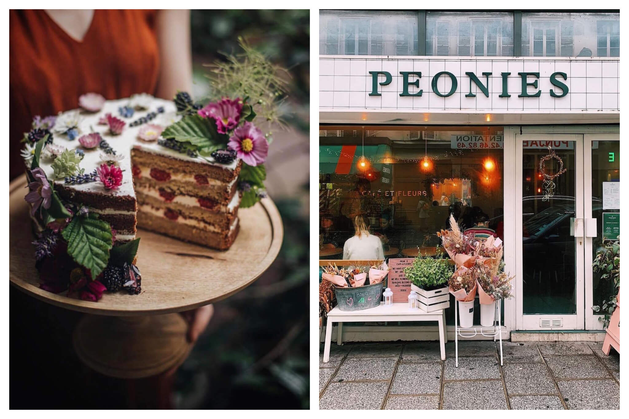 Left: A beautiful layered cake decorated with flowers and berries from Peonies Paris, Right: The storefront of café and flower shop Peonies Paris.