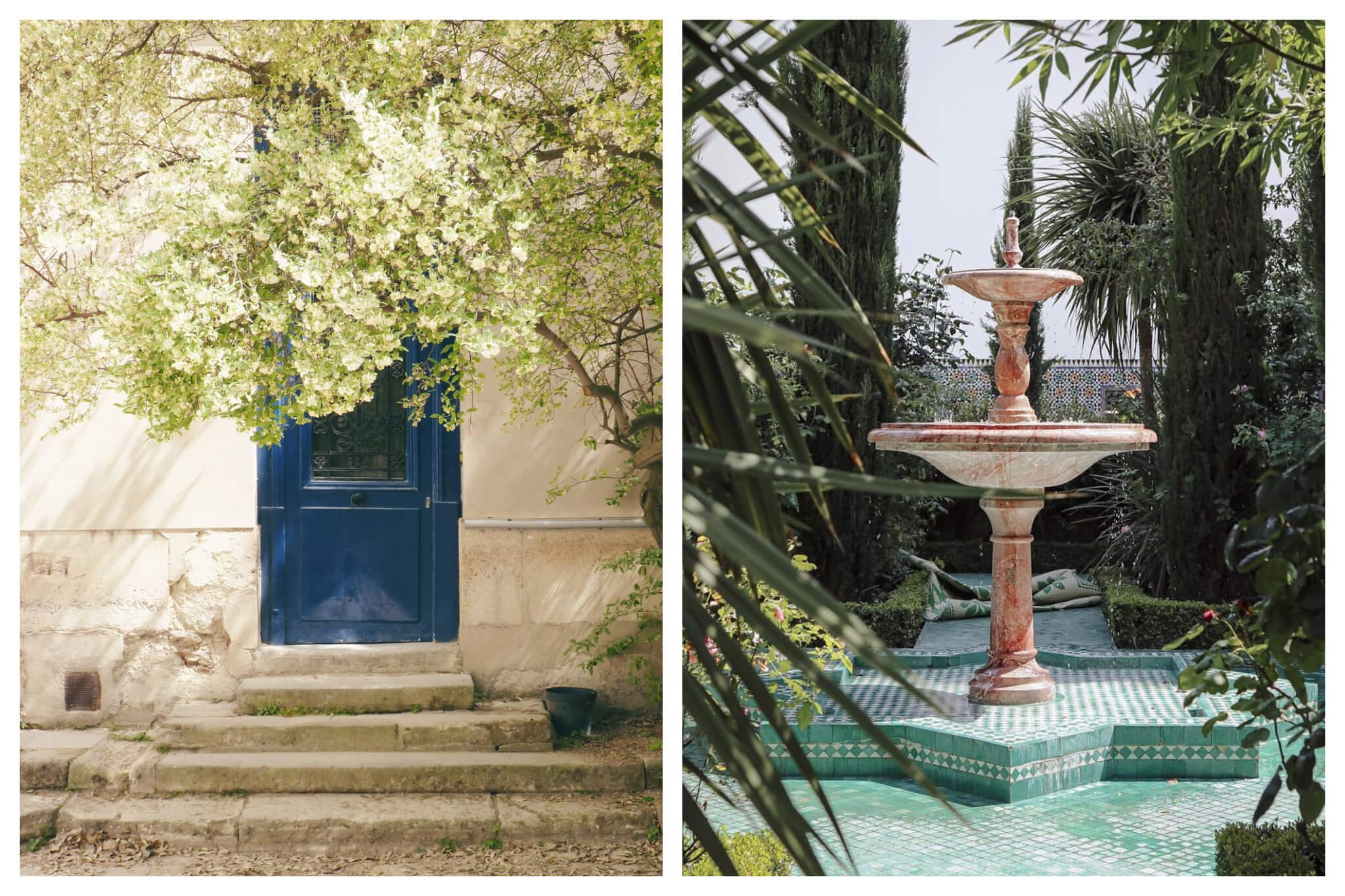 Left: A beautiful tree shades a blue door at the Jardin de Plantes in Paris' left bank on a sunny day, Right: A fountain sits atop blue and white tiles and between plants at thebeautiful Grande Mosquée de Paris