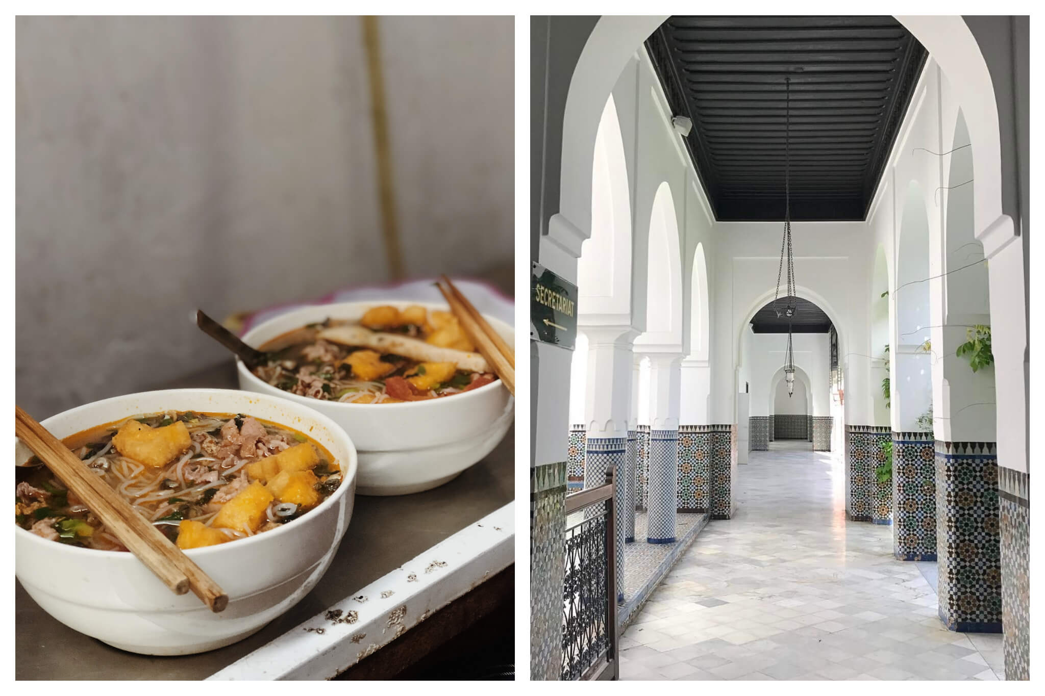 Left: Twopairs of chopsticks and two bowls of pho sit on a countertop in Paris 13th arrondissement, Right: The beautiful hallway, bright, white, and tiled, of the Grande Mosquée in Paris