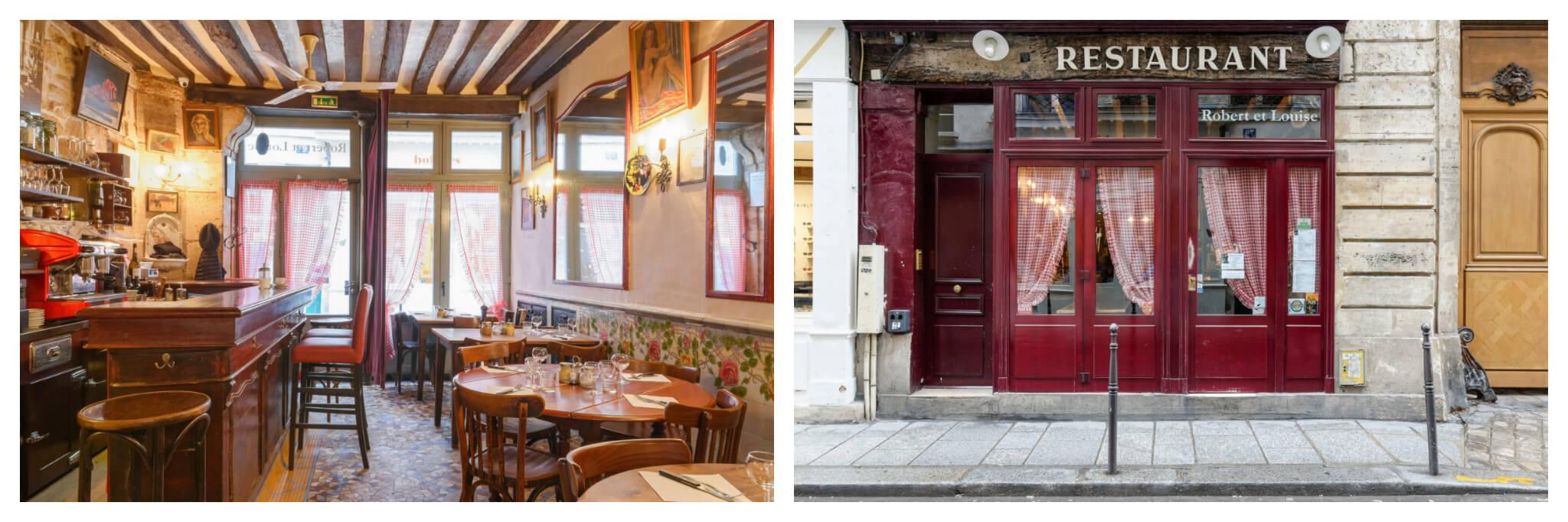 Left: The inside of the quaint Parisian café Robert et Louise in the Marais in Paris, Right: Left: The exterior of the quaint Parisian café Robert et Louise in the Marais in Paris