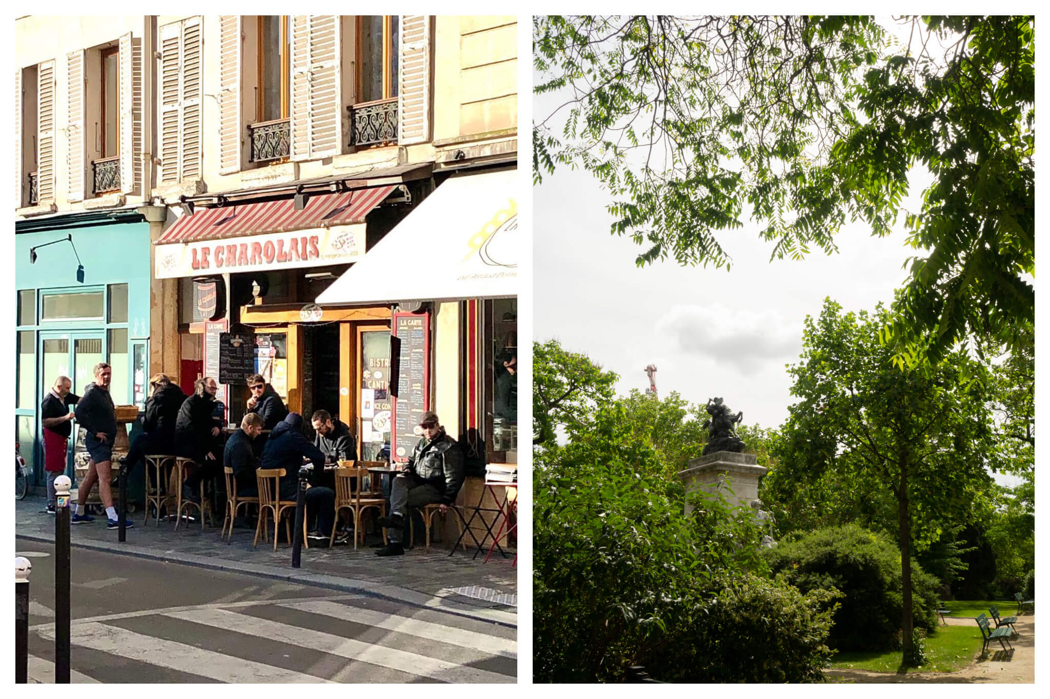 Left: A busy terrace filled with people at a Parisian bistro at the Place d'Aligre, Right: Trees and shrubbery are filled with bright green leaves on a summer day in a square in Paris