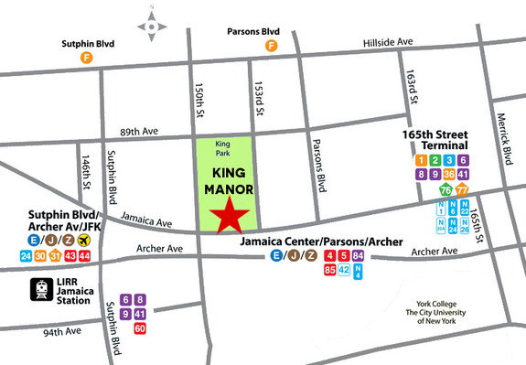 King Manor Map with Public Transit