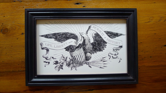 """Life, Liberty and the Pursuit of History"" letterpress print in a wide, handmade frame"
