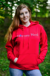"""History Nerd"" Pullover Sweatshirt with Ben Franklin - Deep Red Color"