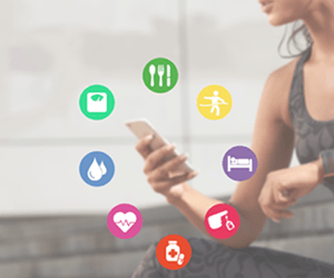 Image of woman showing that you can track all your health and fitness data in one app on a mobile phone or smartphone.