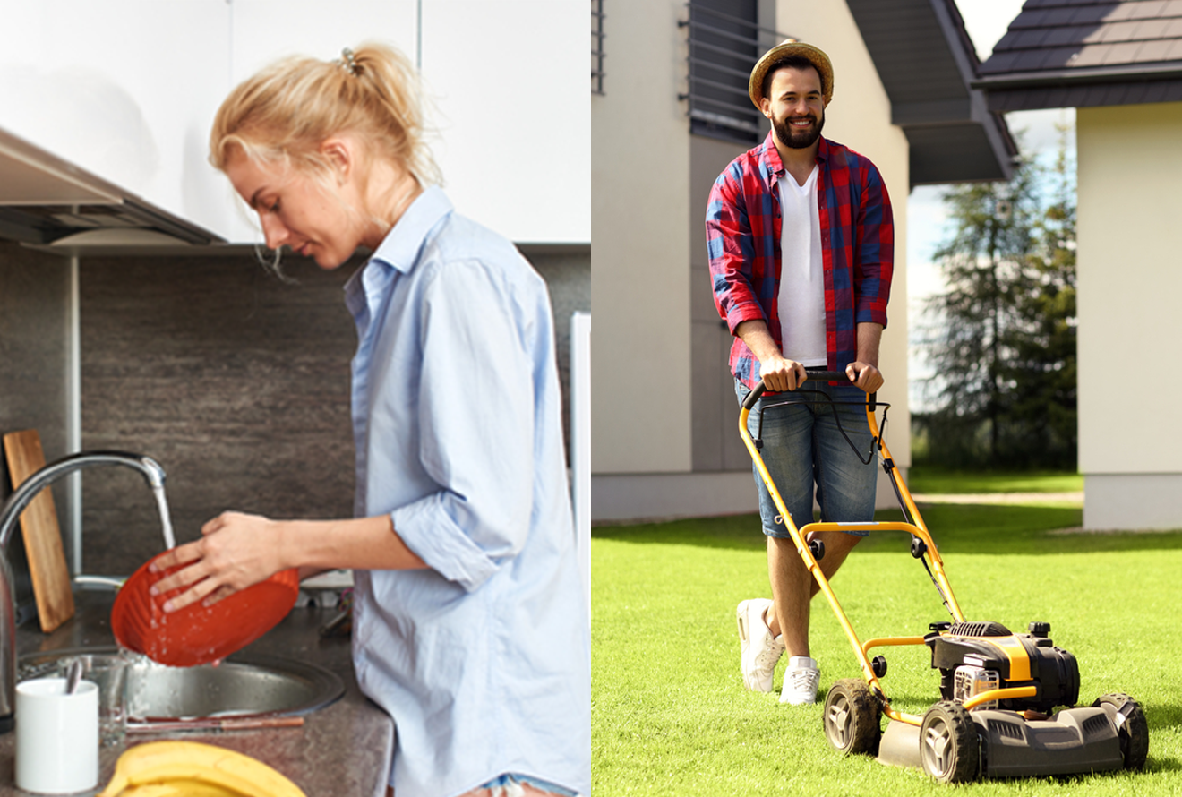 Images of a woman being active by washing dishes and a man being active by mowing the lawn.