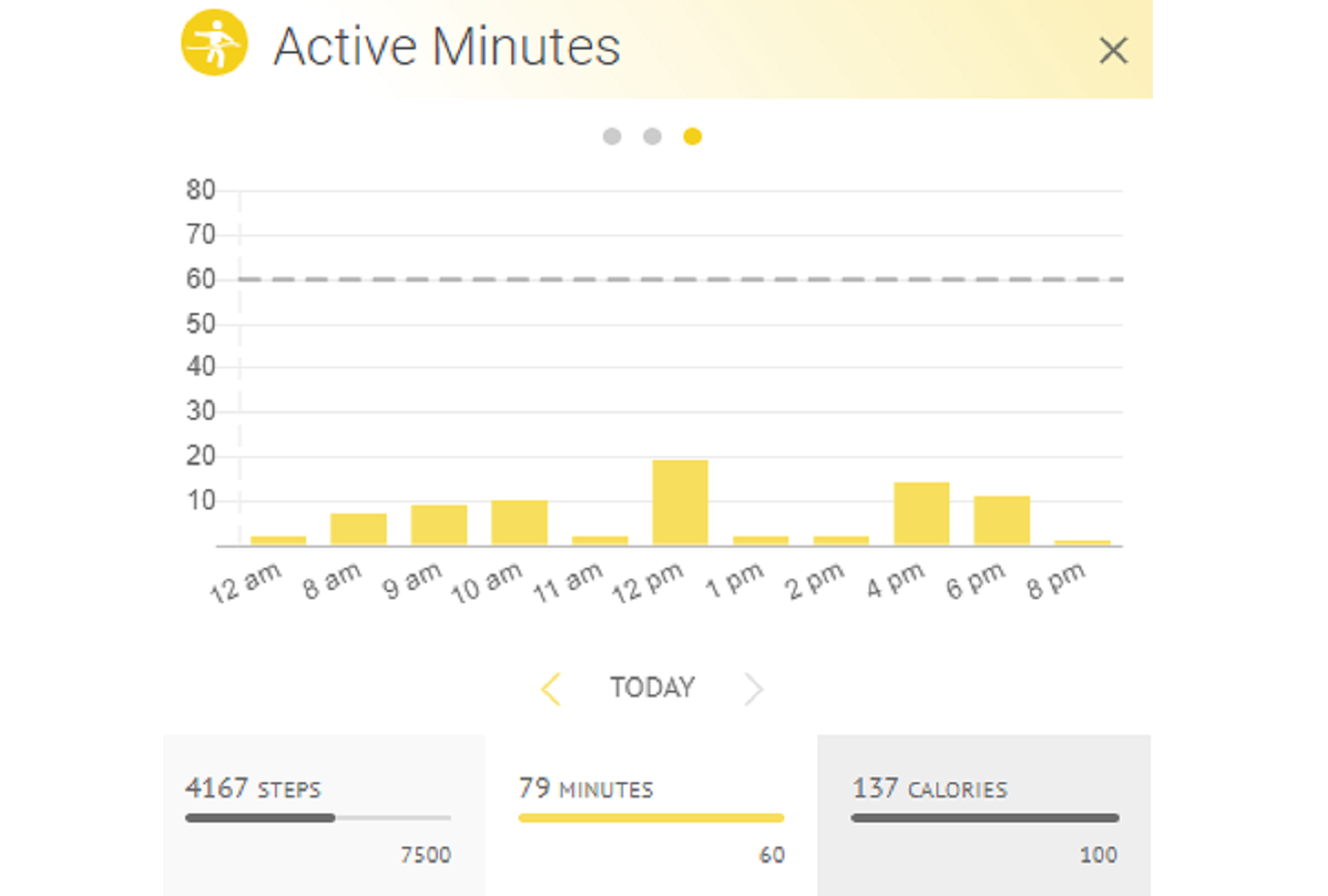Image of (HiT's) Health info Tracker's charts and graphs for tracking activity on a web browser.