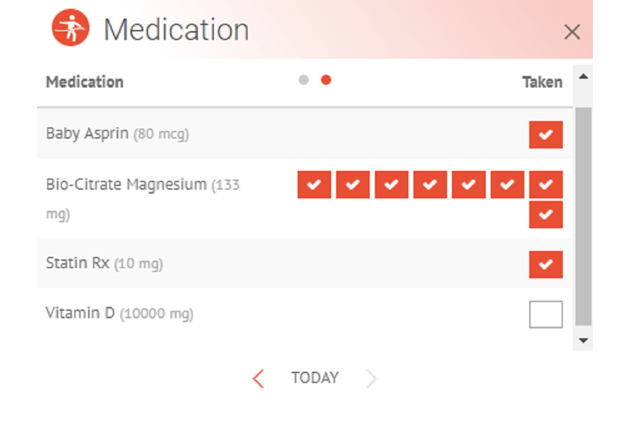 Image of (HiT's) Health info Tracker's medication and supplement intake tracking on a web browser.