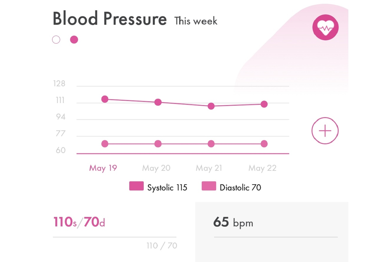 Image of (HiT's) Health info Tracker's charts and graphs for viewing daily blood pressure readings on a mobile phone or smartphone.