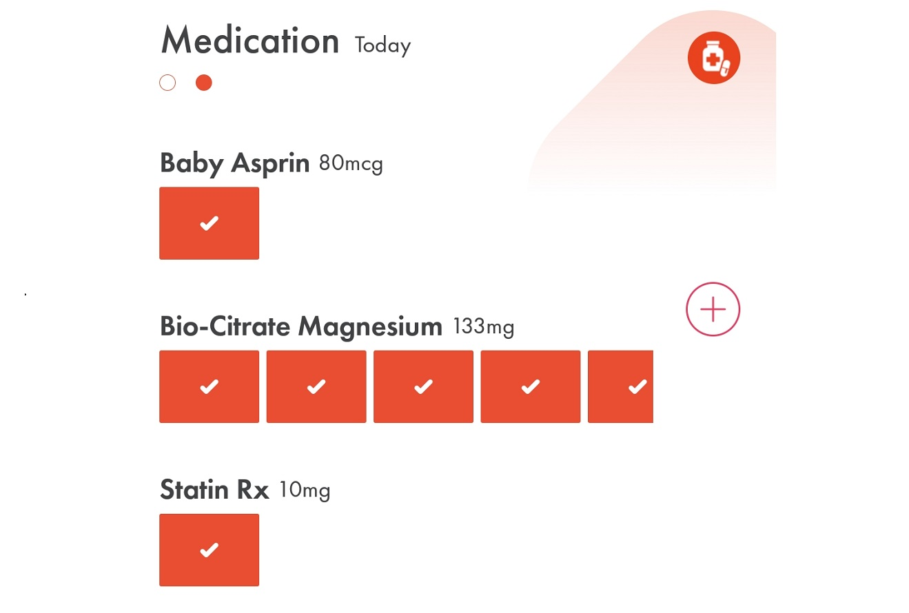 Image of (HiT's) Health info Tracker's medication intakeand supplement intake tracker on mobile phones and smartphones.