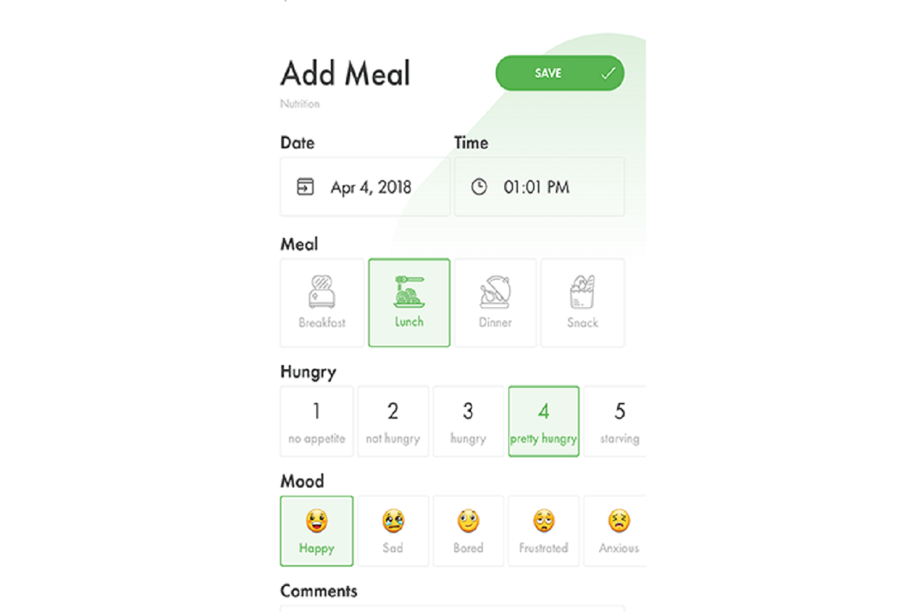 Image of (HiT's) Health info Tracker's expressive emojis and hunger scale for monitoring emotional eating.
