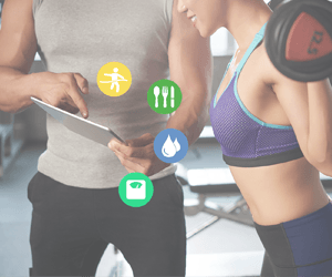 Image of woman showing that you can use (HiT) Health info Tracker to share your fitness data with your personal trainer, fitness coach, nutritionist, or other wellness coach.