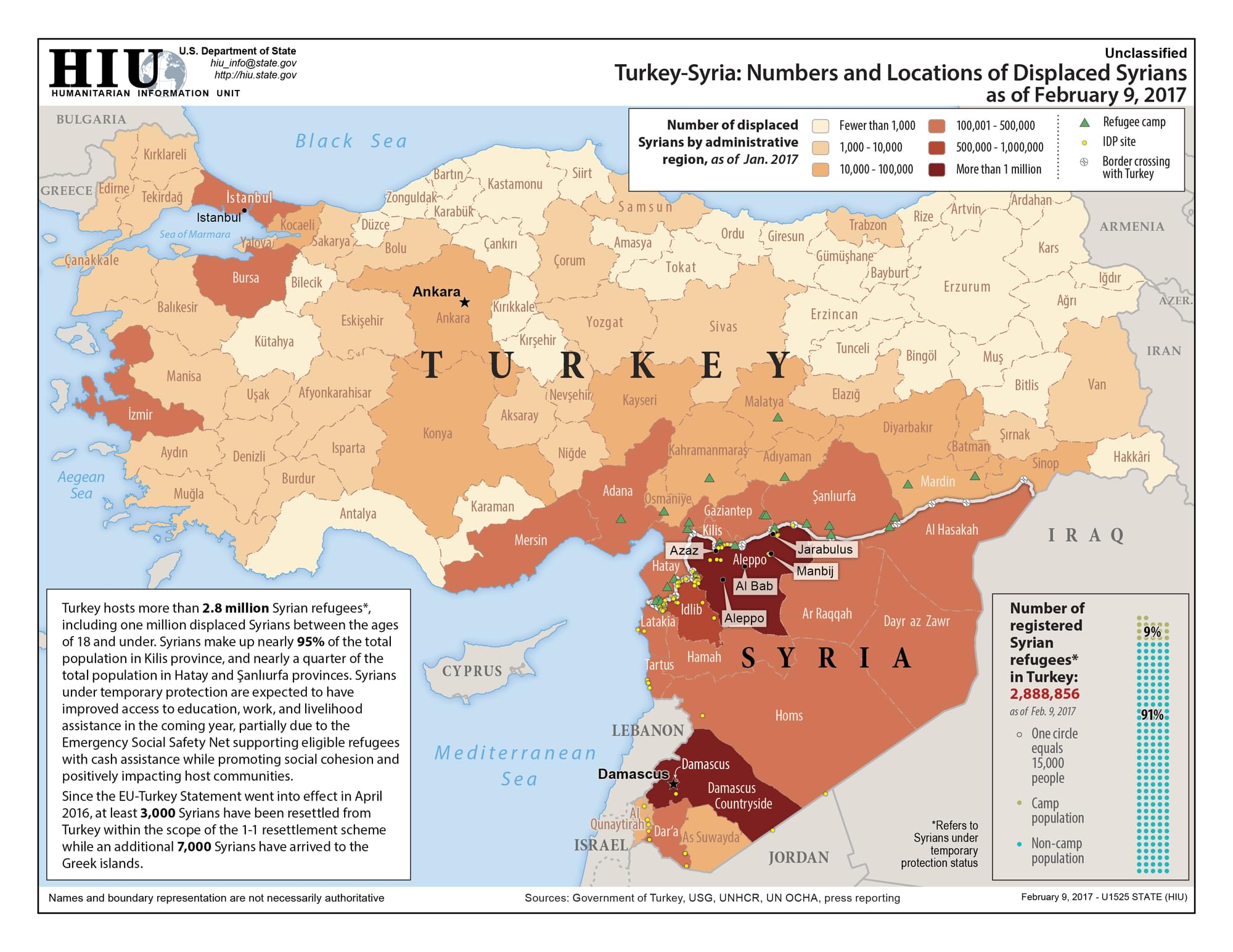 TurkeySyria Numbers And Locations Of Displaced Syrians As Of Feb - Map of syria and turkey