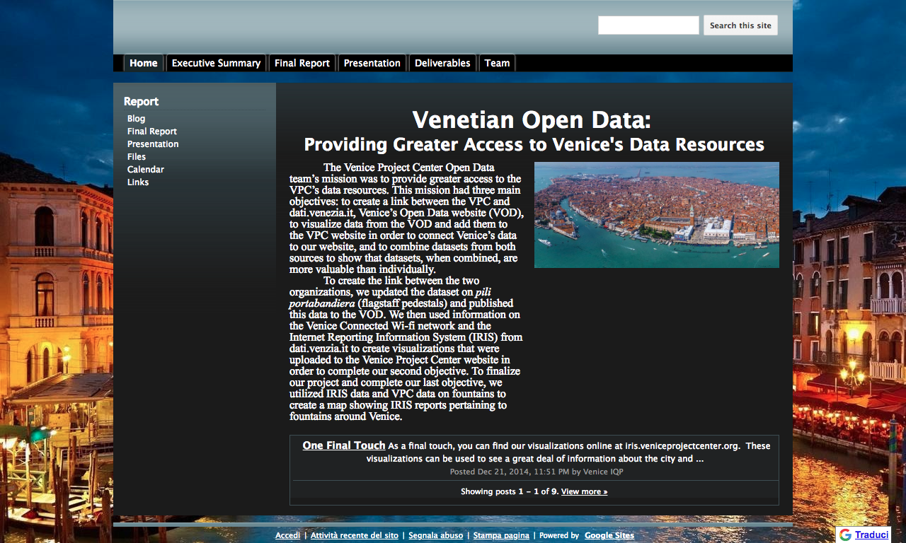 Venetian Open Data: Providing Greater Access to the Venice