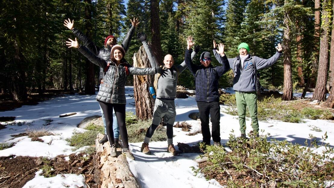 The team on a hike