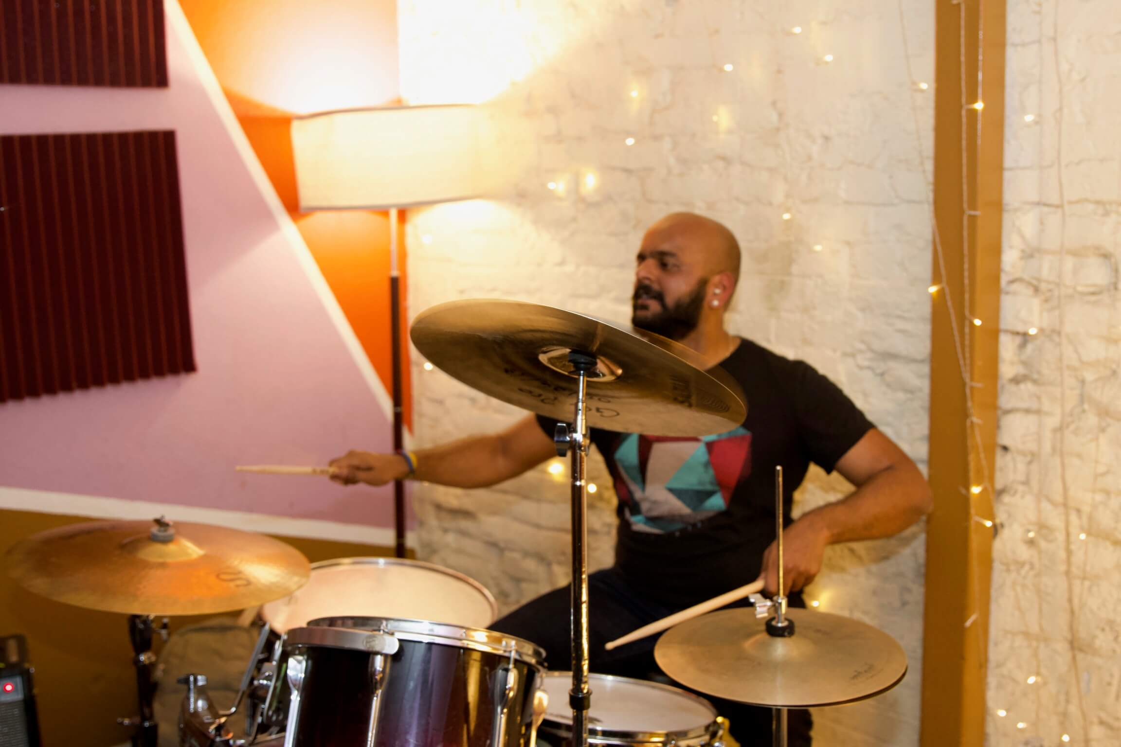Swamy crushing the drums