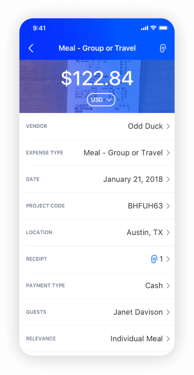 attach stored receipts to existing expenses