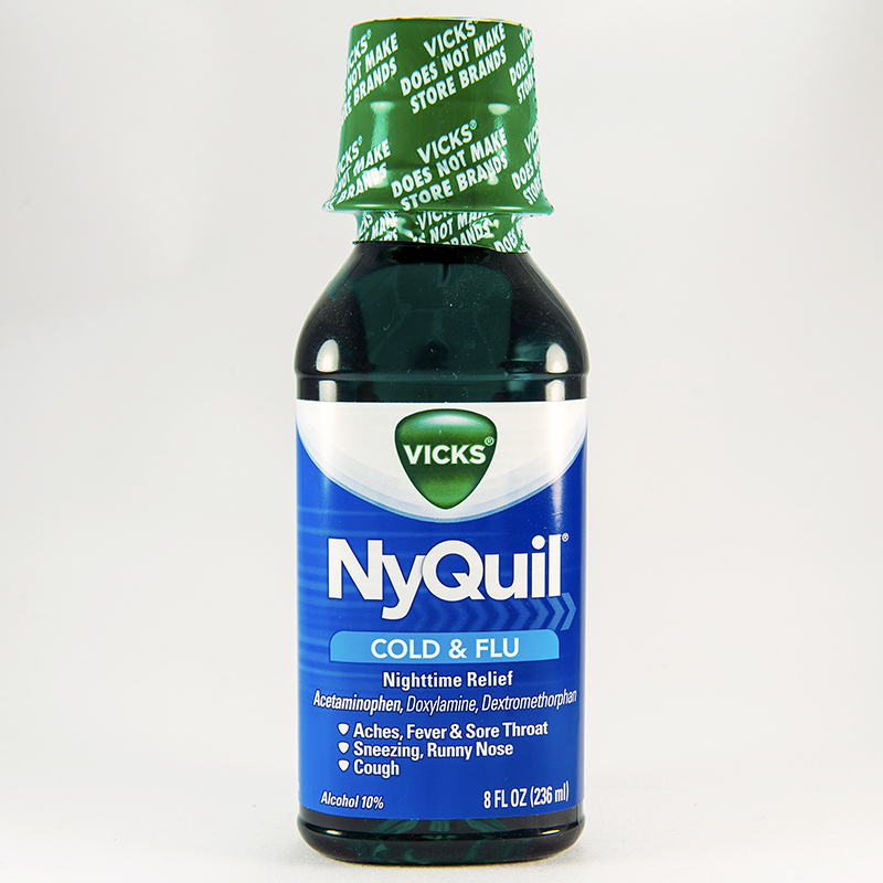 Nyquil cold flu liquid acetaminophen dextromethorphan doxylamine