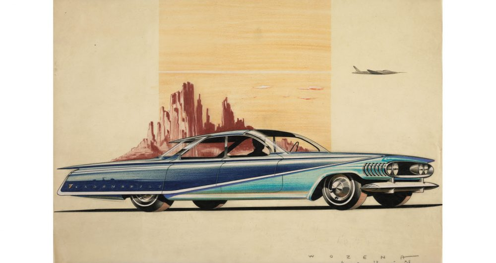 A design proposal for an Oldsmobile by Peter Wozena, 1958. Collection of Jean S. and Frederic A. Sharf. Photograph copyright Museum of Fine Arts, Boston. On view in Future Retro: Drawings from the Great Age of American Automobiles Selected from the Jean S. and Frederic A. Sharf Collection.