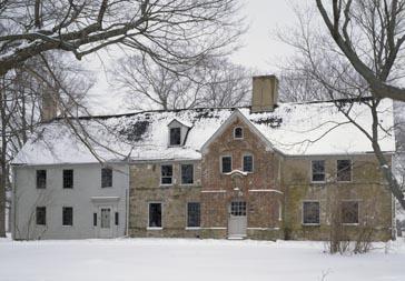 Spencer-Peirce-Little Farm, Newbury, MA. Exterior in snow.