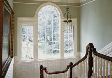 Lyman Estate, Waltham, MA. Stair landing with Palladian window.