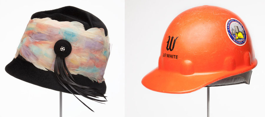 1960 hat with feathers and 1997 hard hat