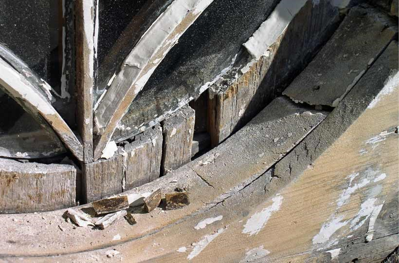 Detail of deteriorated wood in window