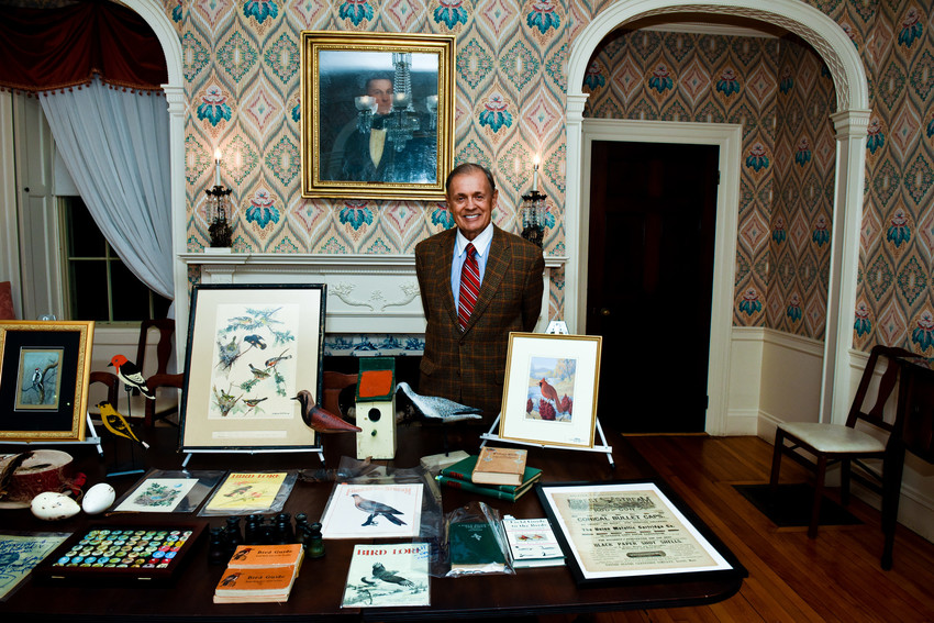 Eddie Woodin, winner of the 2017 Prize for Collecting Works on Paper, shares his collection of bird art at the Lyman Estate in Waltham, Mass.