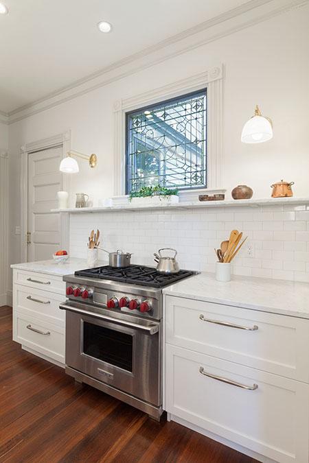 White-colored kitchen