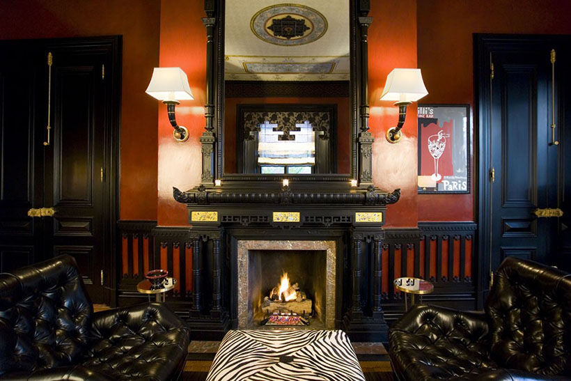 Fireplace in Back Bay home