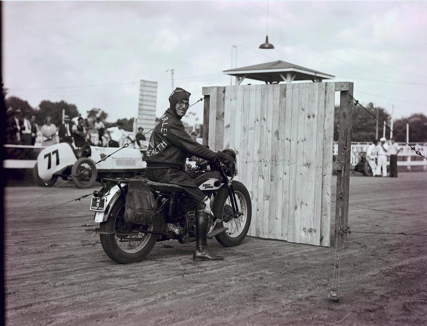 Motorcycle stunt, Topsfield Fair, 1933.