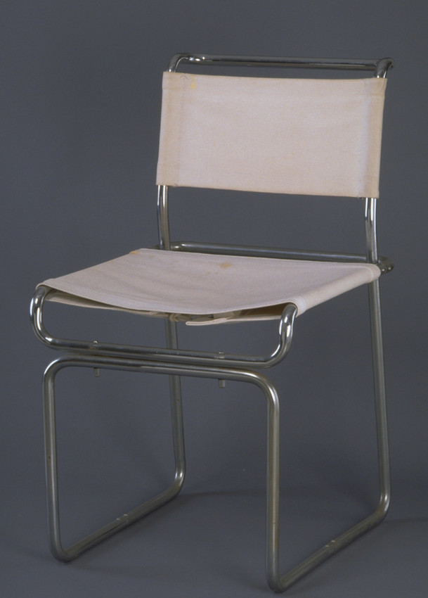canvas and steel Bauhaus-style dining room chair