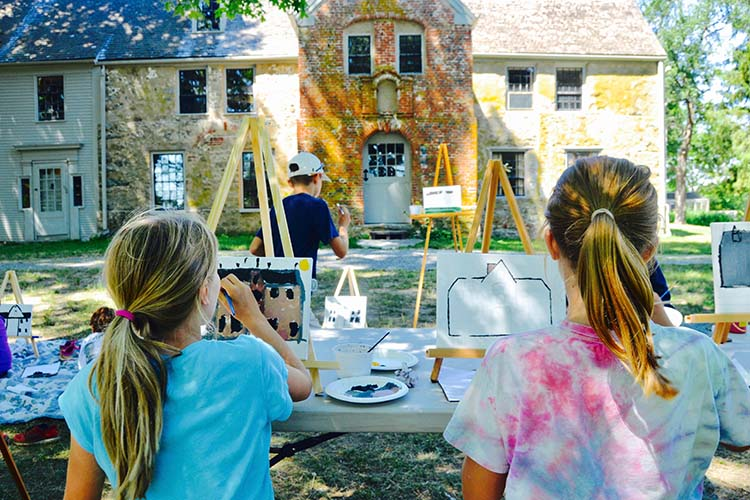 Children paint at Spencer-Peirce-Little Farm