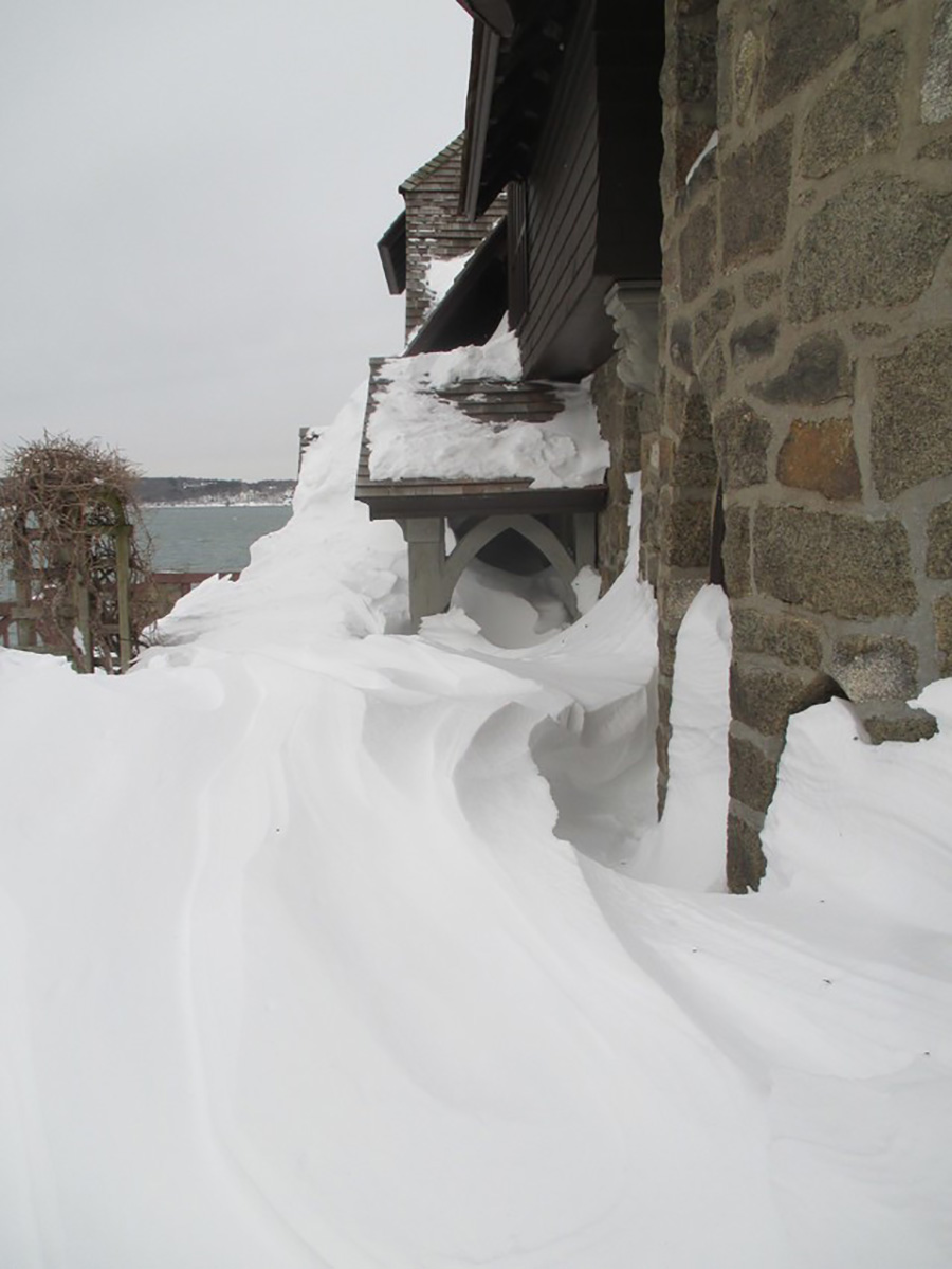 Winter snow drifts at Beauport, the Sleeper-McCann House in Gloucester