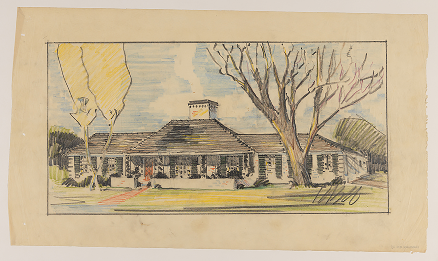 Drawing of the Ruegg House in Wellesley Hills, Mass.