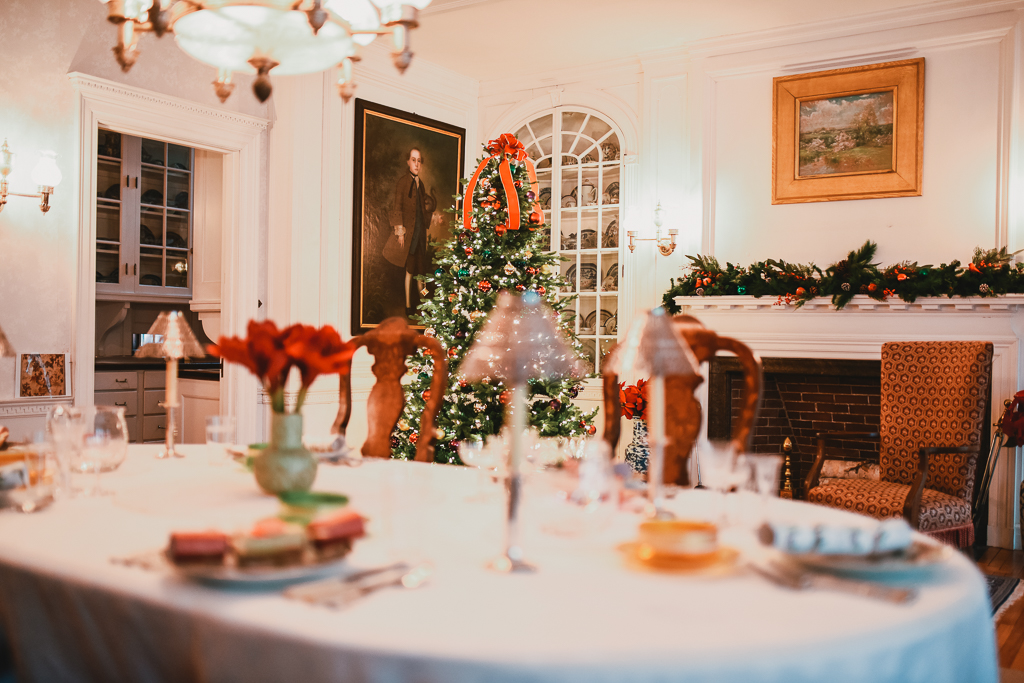 Dining room at Phillips House decorated for Christmas