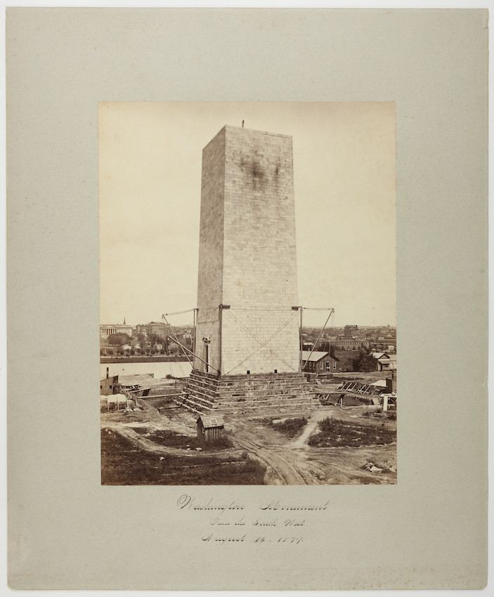 Washington Monument, mid-construction, view from the southwest