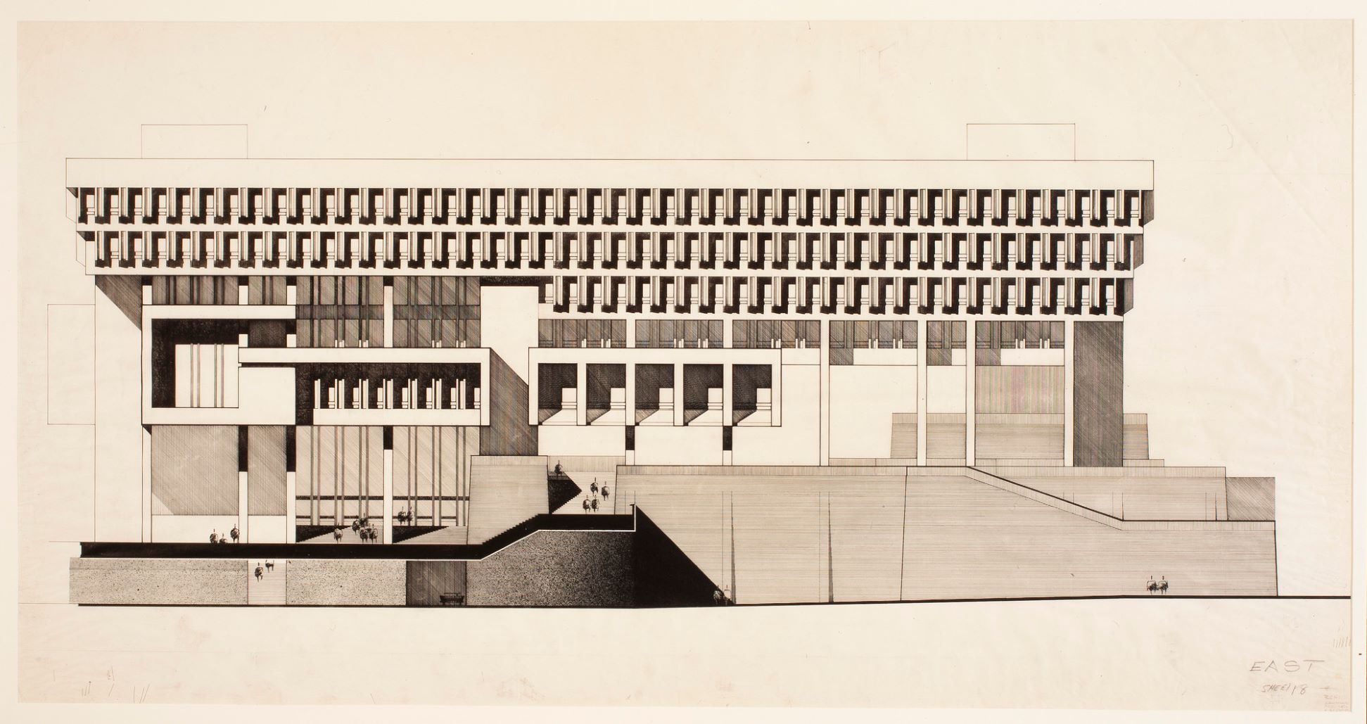Boston City Hall architectural drawing exterior