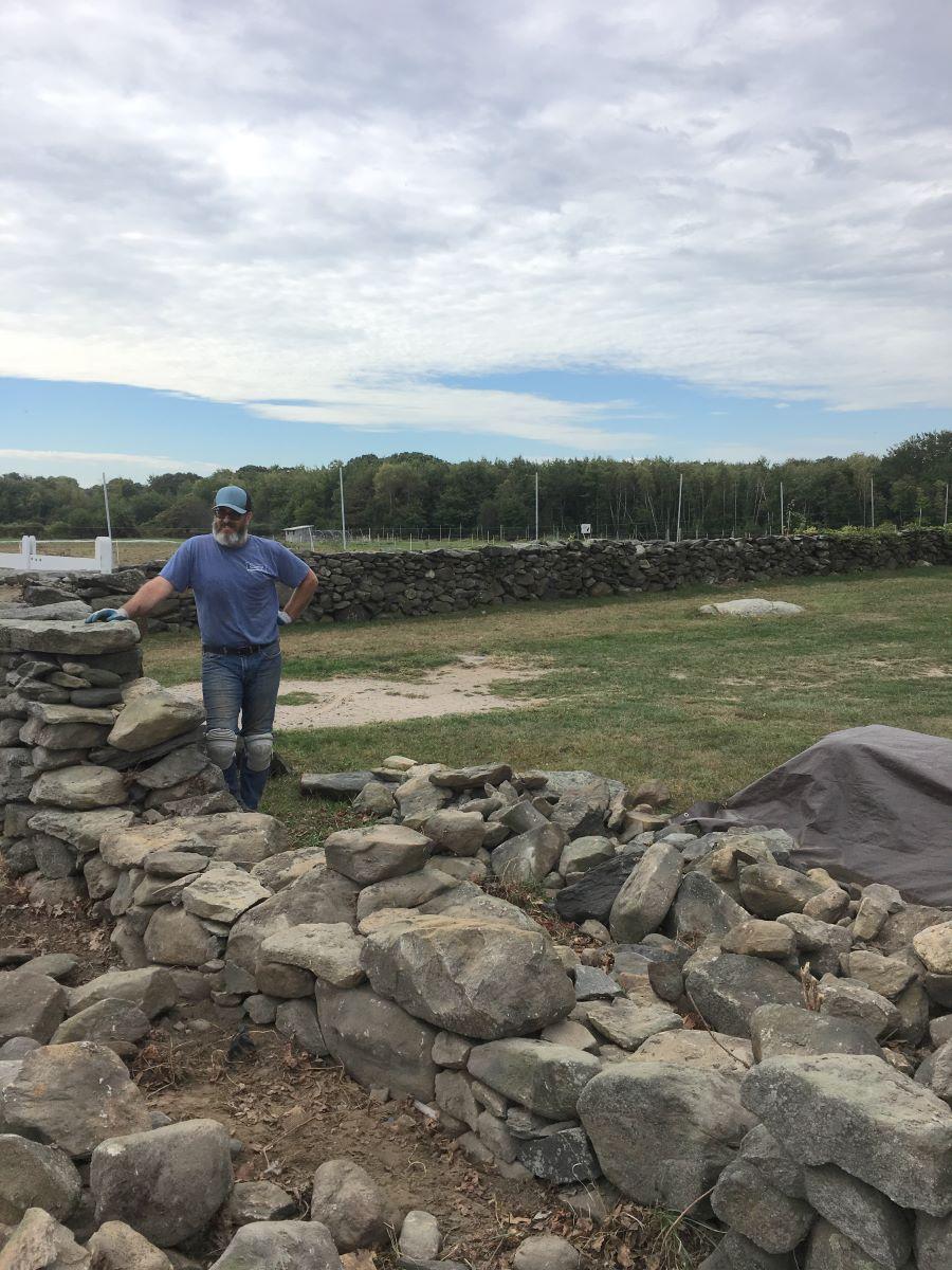 Stone wall repair at Casey Farm