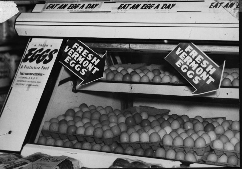 Egg display at a Vermont grocery store