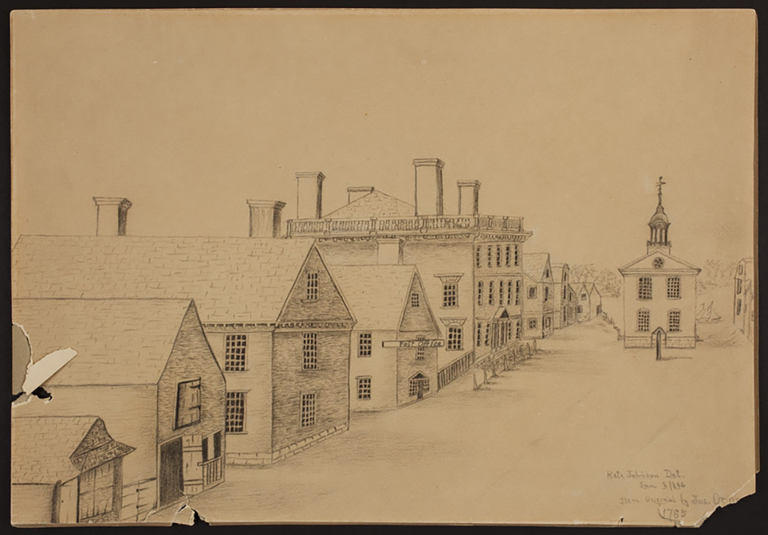 Early drawing of town showing post office