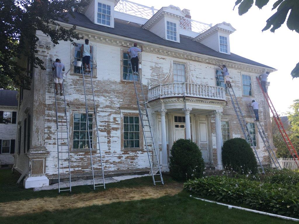 Exterior of the Langdon House during painting project 2020