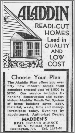 """Newspaper ad for kit house, reading """"Aladdin readi-cut homes. Lead in quality and low cost."""""""