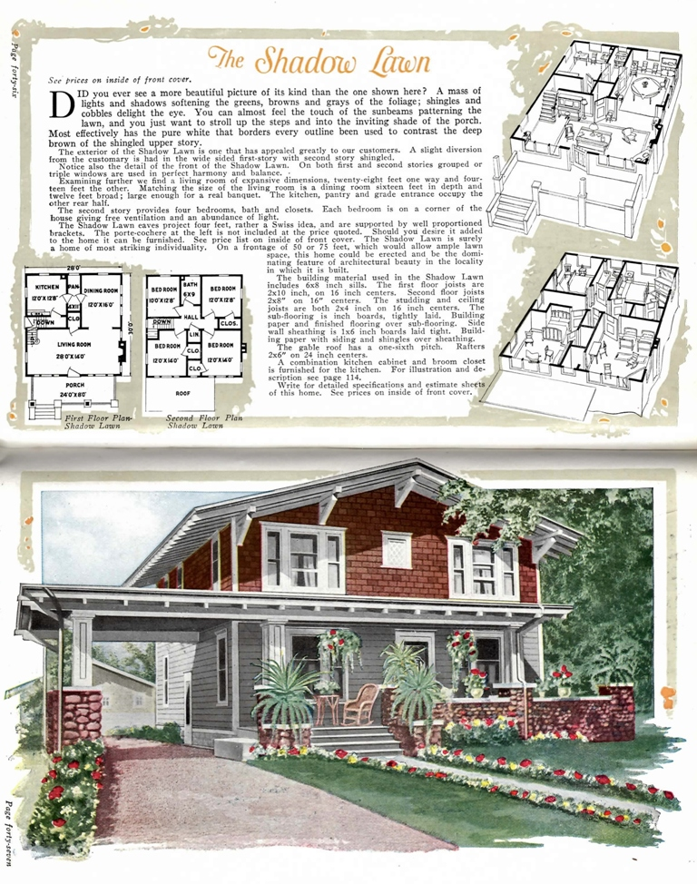 Page advertising kit houses. Top of page has floor plans. Bottom of page has color illustration of kit house.